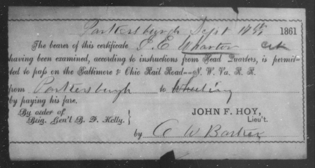 Wharton, J E - State: Ohio - Year: 1861