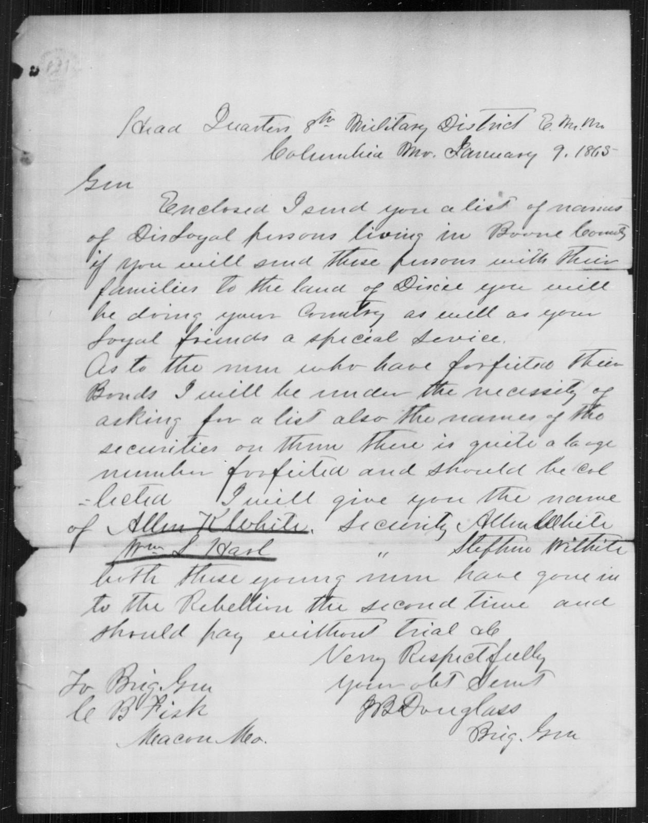 White, Allen K - State: Missouri - Year: 1863