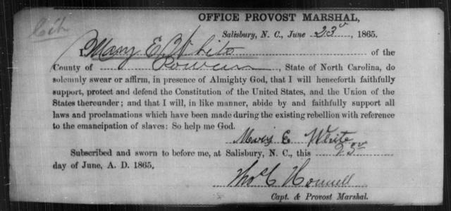 White, Mary E - State: North Carolina - Year: 1865