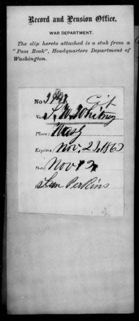 Whitney, S W - State: Washington - Year: 1863