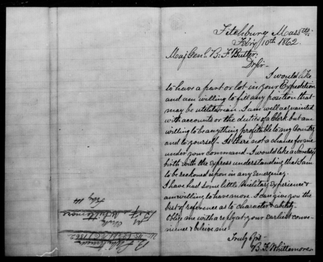 Whittemore, B F - State: Massachusetts - Year: 1862
