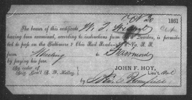 Wiant, W J - State: Ohio - Year: 1861