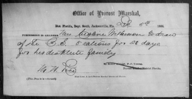 Wilkerson, Caroline - State: Florida - Year: 1864