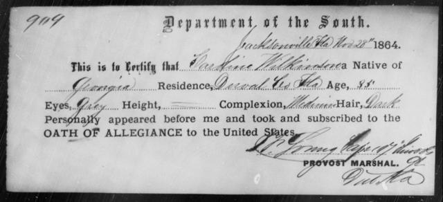 Wilkinson, Caroline - State: Florida - Year: 1864