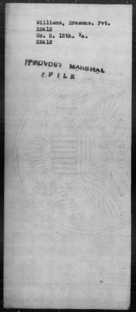 Williams, Erasmus - State: Virginia - Year: [Blank]