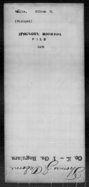 Willis, Milton W - State: [Blank] - Year: [Blank]