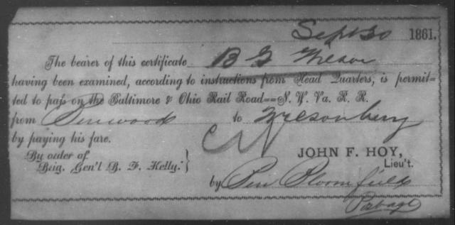 Wilson, B G - State: Ohio - Year: 1861