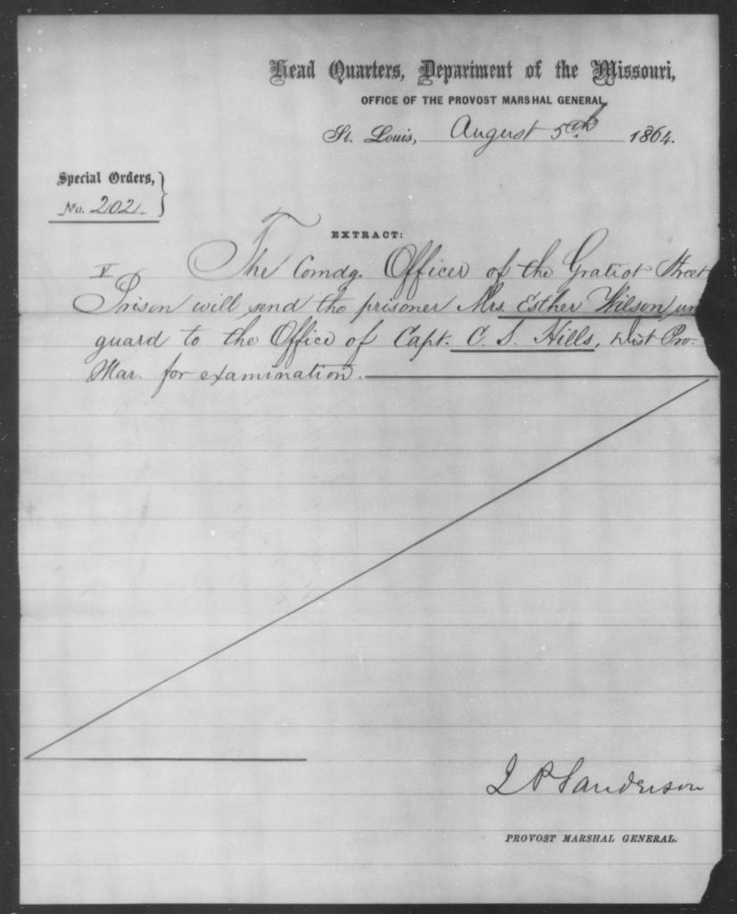 Wilson, Esther - State: Missouri - Year: 1864