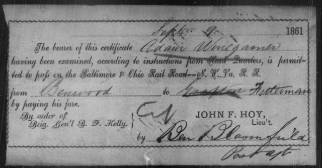 Winegarner, Adam - State: Virginia - Year: 1861
