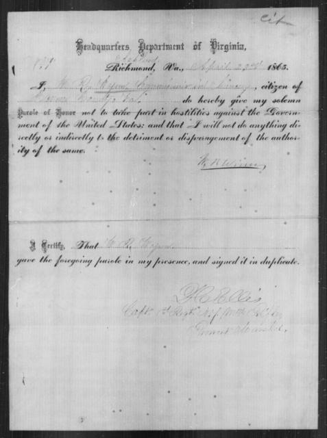 Winn, W R - State: Virginia - Year: 1865