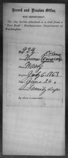 Winns, Thomas - State: Washington - Year: 1863