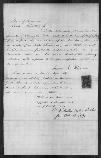 Winston, Samuel L - State: Missouri - Year: 1865