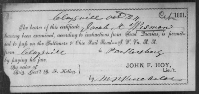 Wisman, Jacob M - State: Ohio - Year: 1861
