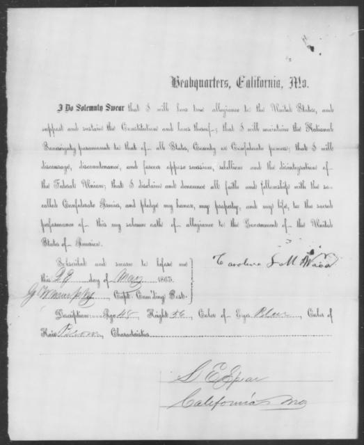 Wood, Caroline L M - State: Missouri - Year: 1863