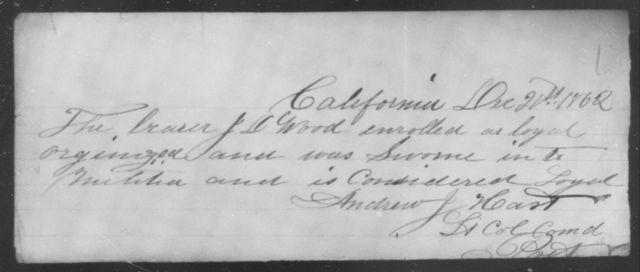 Wood, J D - State: California - Year: 1862