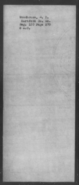 Woodhouse, E H - State: Maryland - Year: [Blank]