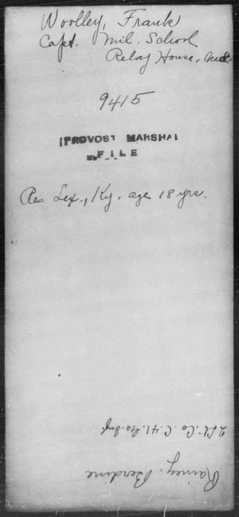 Woolley, Frank - State: Maryland - Year: [Blank]