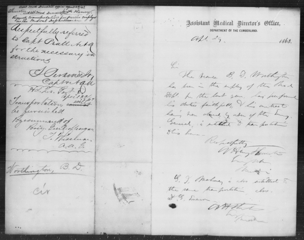 Worthington, B D - State: [Blank] - Year: 1863