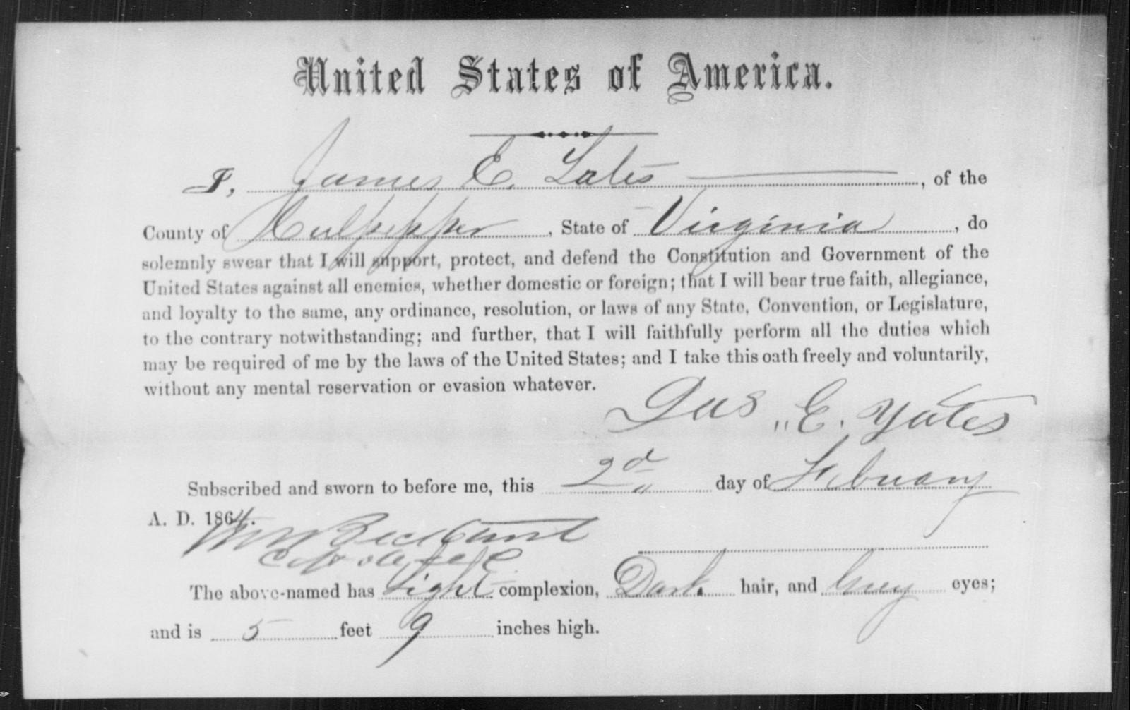 Yates, James E - State: Virginia - Year: 1864