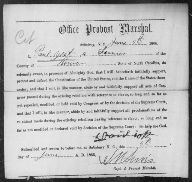 Yost, Paul - State: North Carolina - Year: 1865