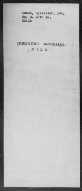 Zeach, Sylvester - State: Virginia - Year: [Blank]