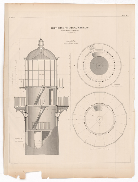 Drawing Showing Lantern Sections for the Lighthouse at Cape Canaveral, Florida