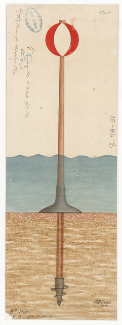 Drawing of the Proposed Day Beacon for the Lighthouse at Atchafalaya Bay, Louisiana