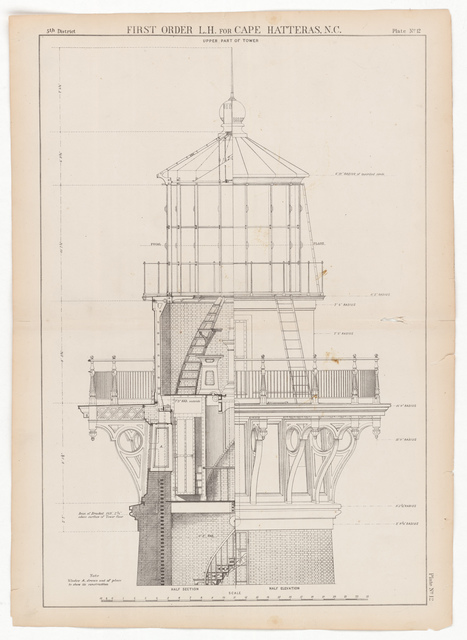 Drawing Showing the Upper Part of the Lantern Tower for the Lighthouse at Cape Hatteras, North Carolina