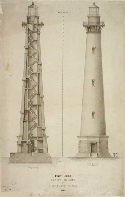Elevation and Section of First Order Lighthouse at Cape Hatteras, North Carolina