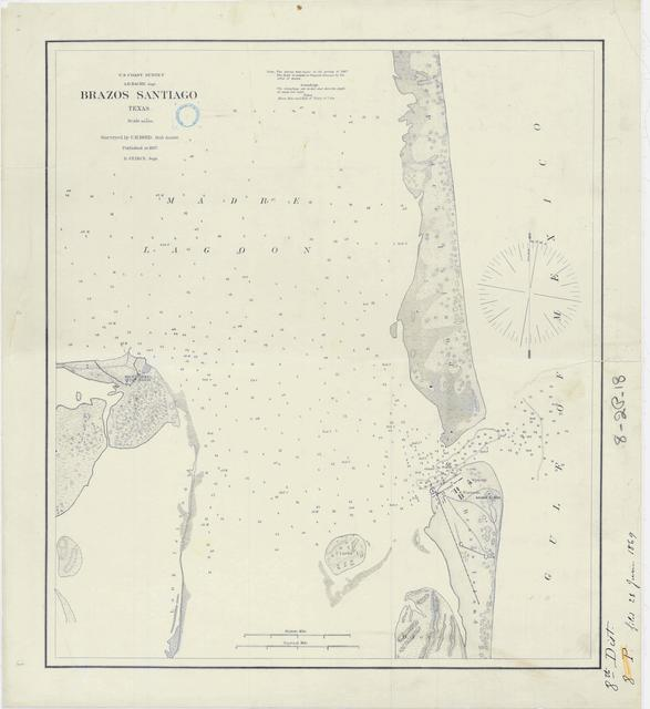 Nautical Chart of Brazos Santiago, Texas Showing Location of Lighthouse