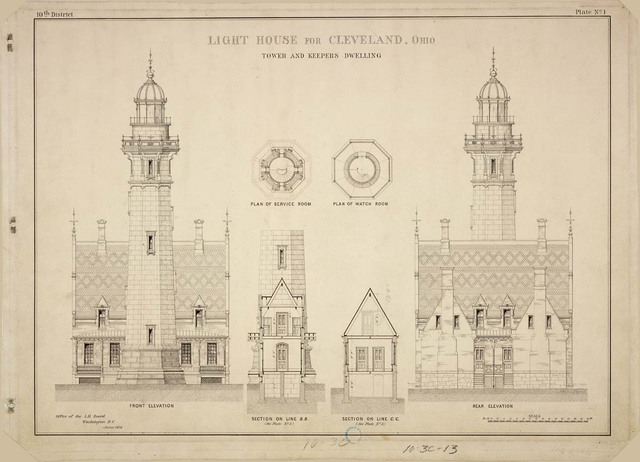 Front and Rear Elevations, Plans, and Sections of Lighthouse for Cleveland, Ohio