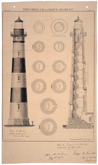 Architectural Drawing of First Order Lighthouse for Bodys Island, North Carolina