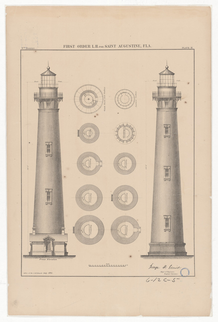 Elevation and Plan Drawing for the Lighthouse at Saint Augustine, Florida
