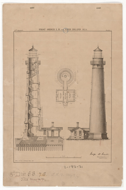 Section, Elevation and Plan Drawing for the Lighthouse at Sand Island, Alabama