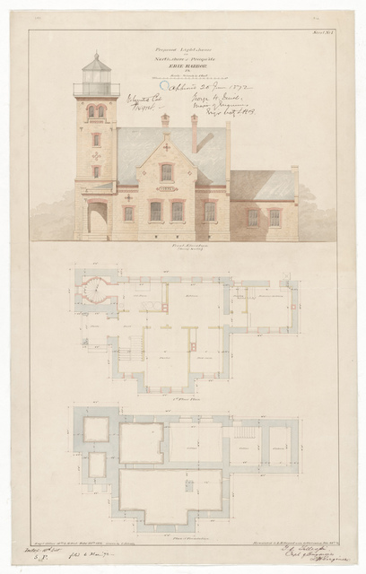 Elevation Drawing and Plan for the Erie Harbor Lighthouse, Pennsylvania