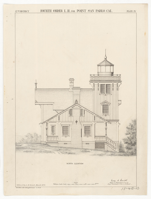 North Elevation Drawing for the Lighthouse at East Brother Island, California