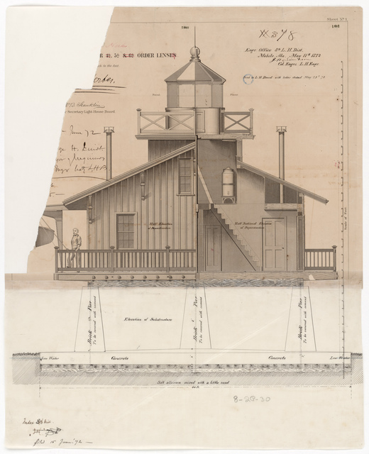 Section and Elevation Drawing of the Lighthouse at Pointe Aux Herbes, Louisiana