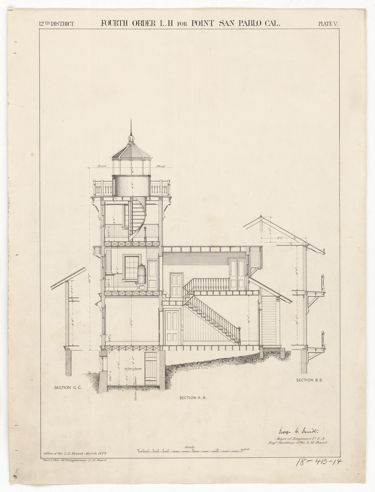 Section Drawing For The Lighthouse At East Brother Island