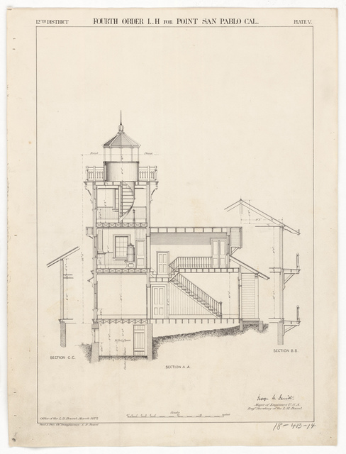 Section Drawing for the Lighthouse at East Brother Island, California