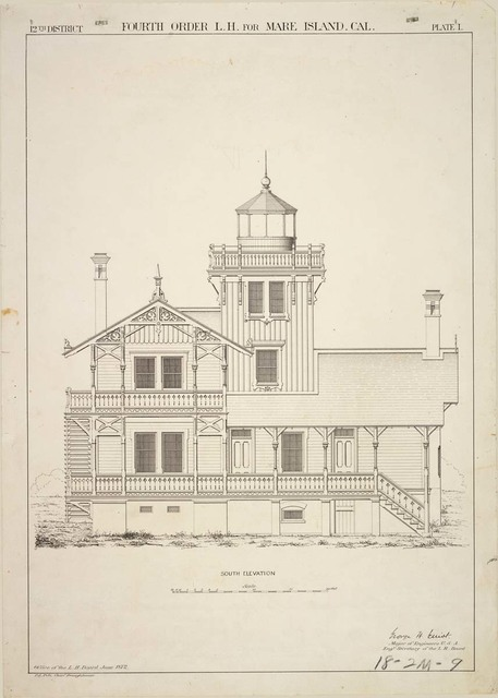South Elevation of Mare Island Lighthouse, California