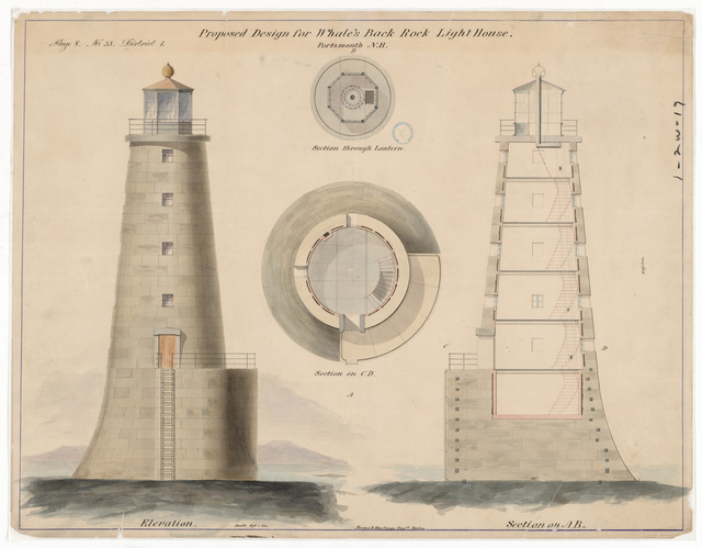 Section, Elevation and Plan Drawing for the Lighthouse at Whales Back, New Hampshire
