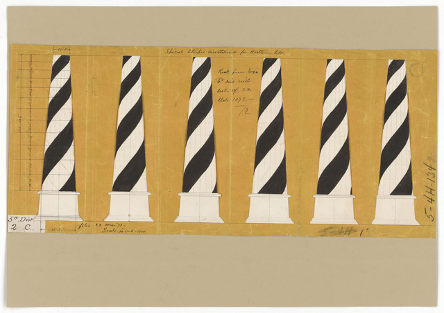 Drawing Showing the Spiral Stripes Design for the Lighthouse at Cape Hatteras, North Carolina