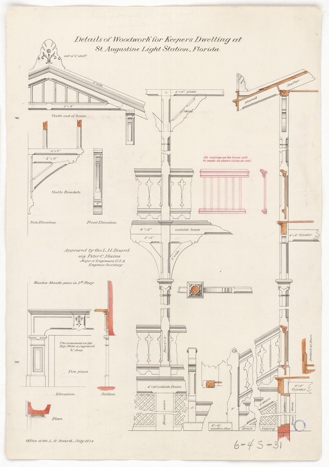 Drawing Showing Woodwork Details for the Lighthouse Dwelling at Saint  Augustine, Florida