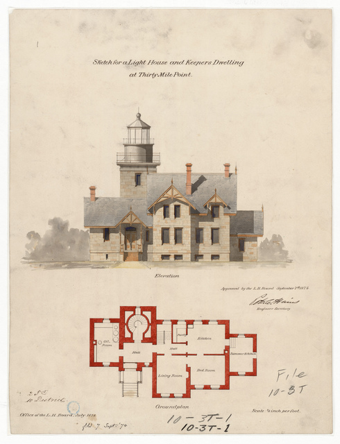 Elevation and Plan Drawing for the Lighthouse and Dwelling at Thirty Mile Point, New York