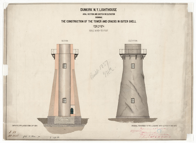 Section and Elevation Drawing for the Lighthouse at Dunkirk, New York