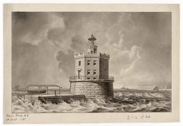 Drawing of the Lighthouse at Race Rock, New York