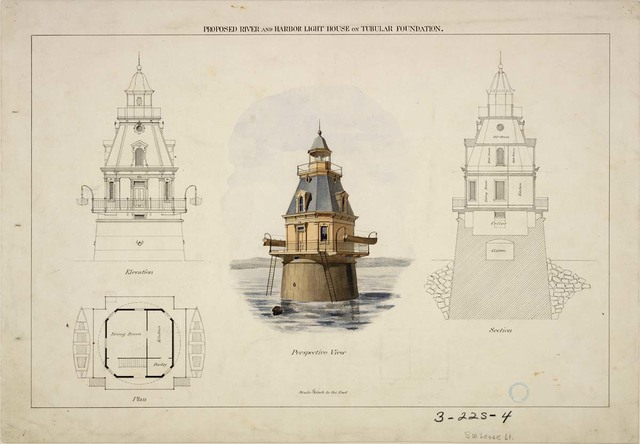 Elevation, Section Plan, and Perspective View of Southwest Ledge Lighthouse, Connecticut