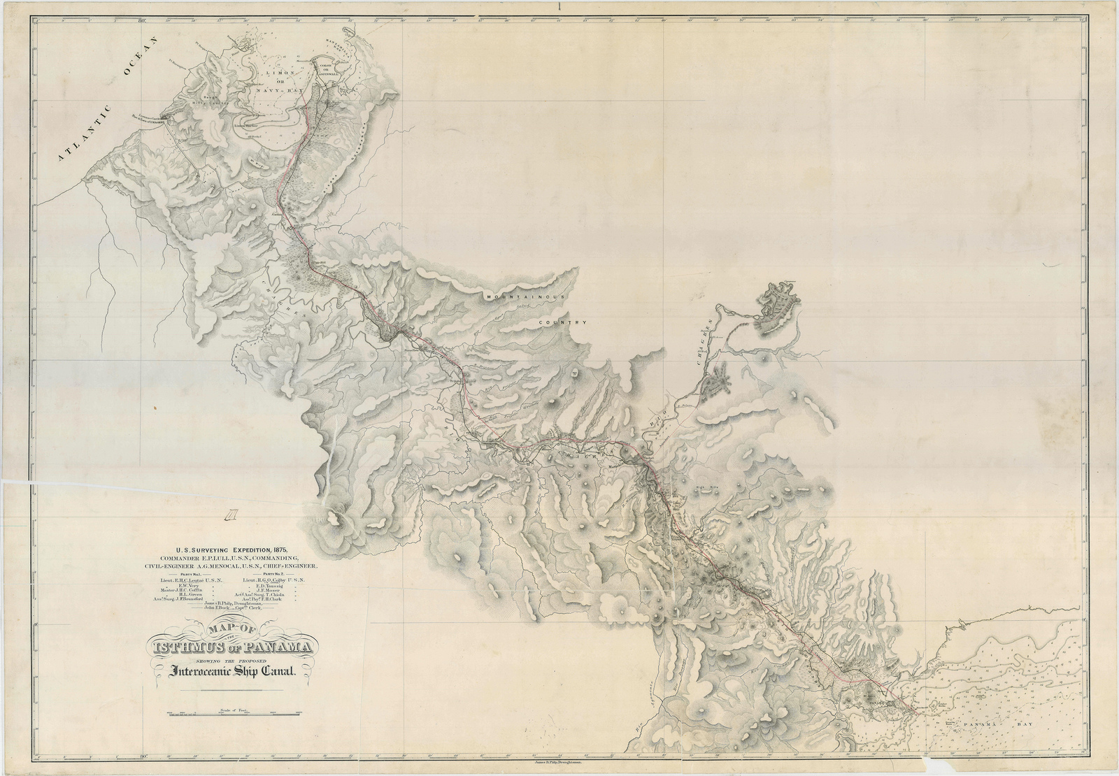 Map of the Isthmus of Panama Showing the Proposed Interoceanic Ship ...