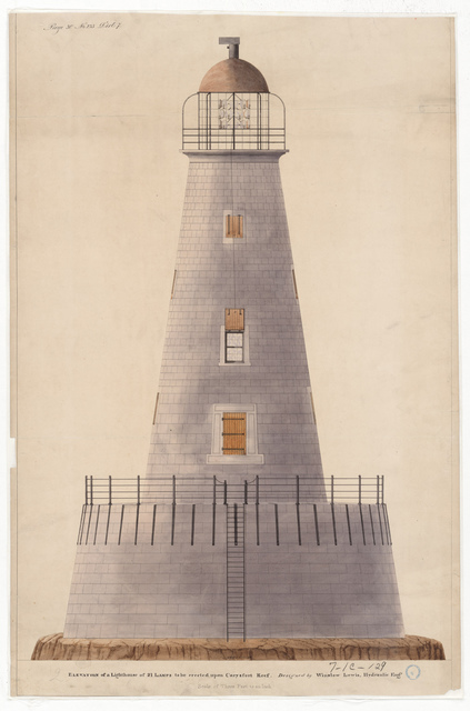 Elevation Drawing for the Lighthouse at Carysfort Reef, Florida