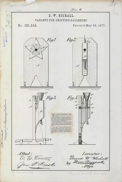 Patent Drawing for D. W. Hoshall's Targets for Shooting Galleries